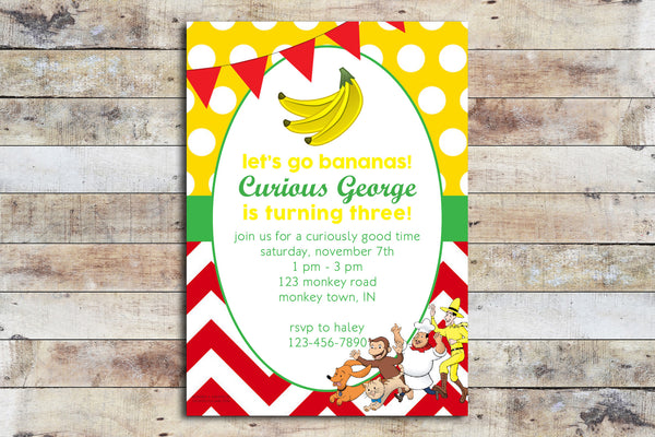 Birthday Invitation - Curious George | Chevron & Polka Dots
