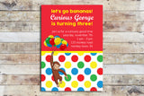 Birthday Invitation - Curious George | Polka Dots & Balloons