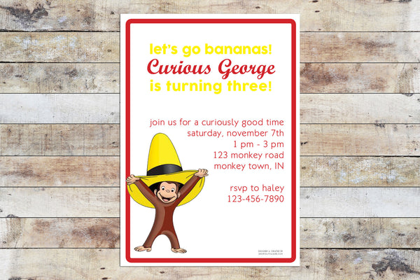 Birthday Invitation - Curious George | Let's Go Bananas