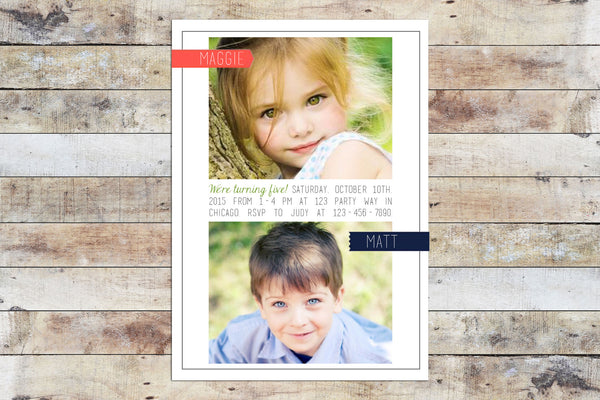 Birthday Invitation - Twins w/ Photo