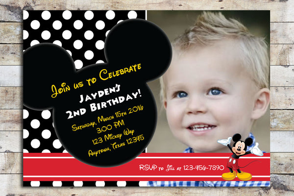 Birthday Invitation - Mickey Mouse w/ Photo