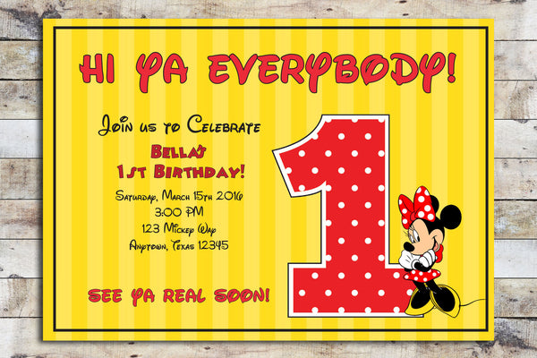 Birthday Invitation - Minnie Mouse | My Age
