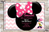 Birthday Invitation - Minnie Mouse | Chevron & Polka Dots