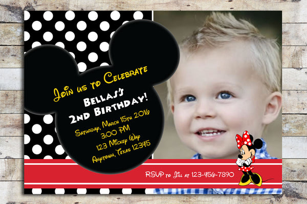 Birthday Invitation - Minnie Mouse w/ Photo