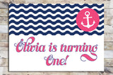 Birthday Invitation - Nautical | Pink Anchor & Waves