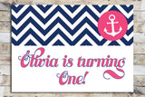 Birthday Invitation - Nautical | Pink Anchor & Chevron