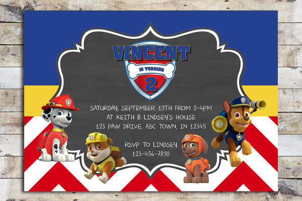 Birthday Invitation - Paw Patrol | Chevron Chalkboard (Team)