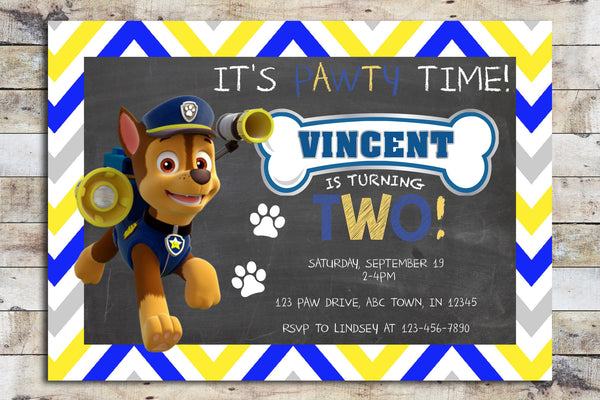 Birthday Invitation - Paw Patrol | Chevron (Chase)