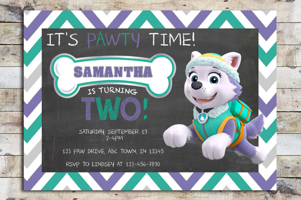 Birthday Invitation - Paw Patrol | Chevron (Everest)