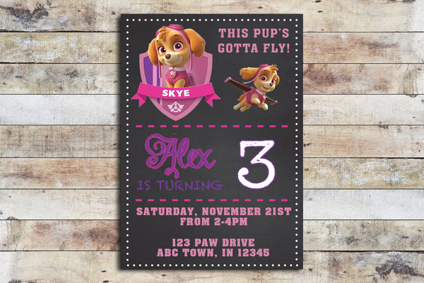 Birthday Invitation - Paw Patrol | Skye Chalkboard