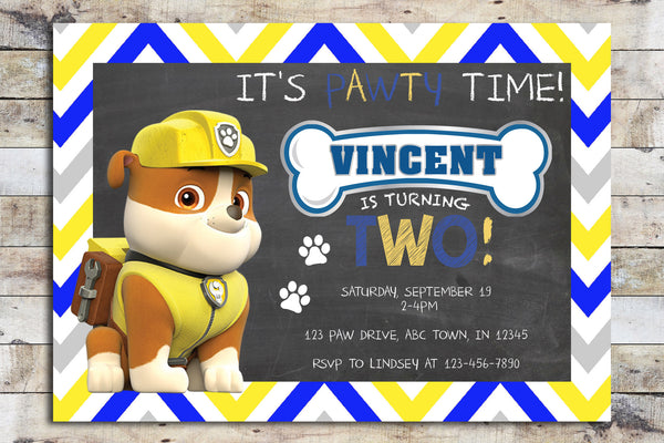 Birthday Invitation - Paw Patrol | Chevron (Rubble)