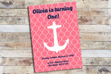 Birthday Invitation - Nautical | Pink Anchor