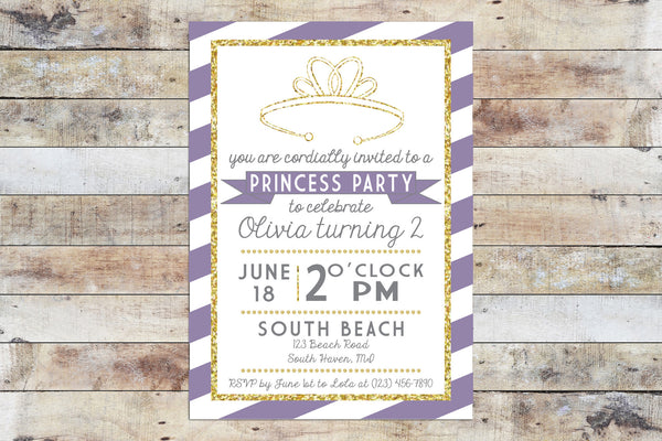Birthday Invitation - Princess Party | Purple Stripes