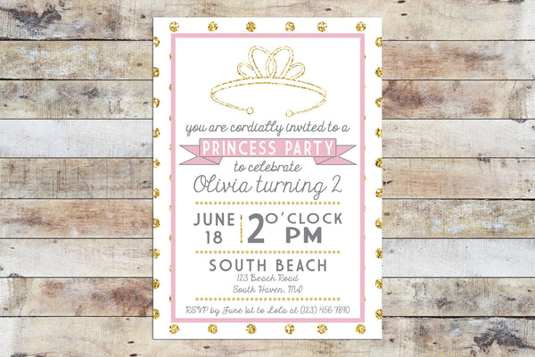 Birthday Invitation - Princess Party | Pink Polka Dots