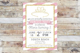 Birthday Invitation - Princess Party | Pink Stripes