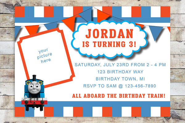Birthday Invitation - Thomas the Train w/ Photo