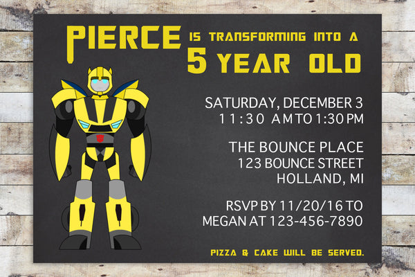Birthday Invitation - Transformers Rescue Bots | Bumblebee Chalkboard (Horizontal)
