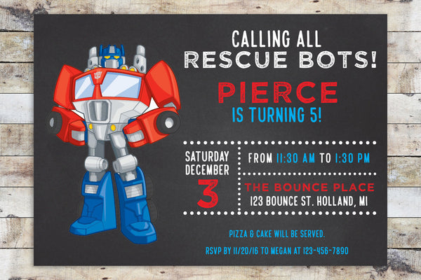 Birthday Invitation - Transformers Rescue Bots | Optimus Prime Chalkboard (Horizontal)