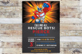 Birthday Invitation - Transformers Rescue Bots | Hero Chalkboard