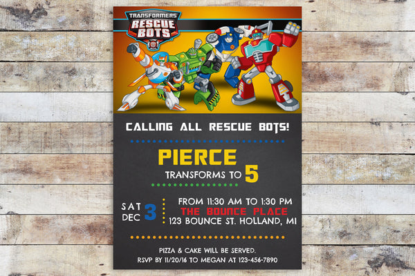 Birthday Invitation - Transformers Rescue Bots | Team Chalkboard
