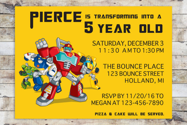 Birthday Invitation - Transformers Rescue Bots | Team (Horizontal)