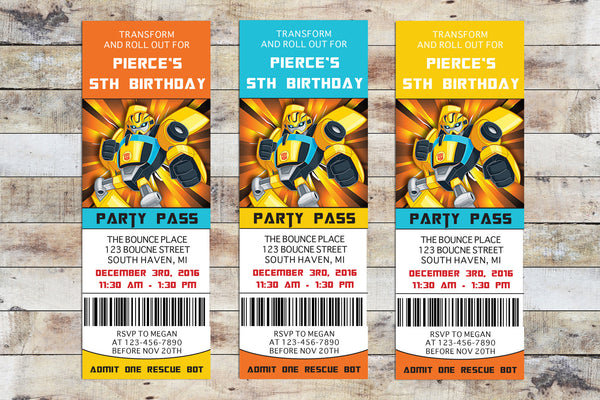 Birthday Invitation - Transformers Rescue Bots | Bumblebee Ticket