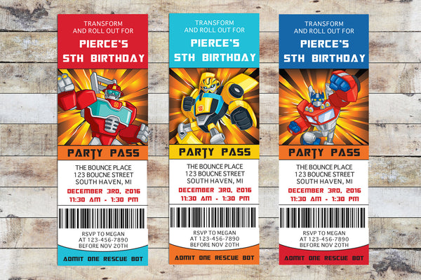 Birthday Invitation - Transformers Rescue Bots | Ticket (Multiple Characters Package - 3 Characters)