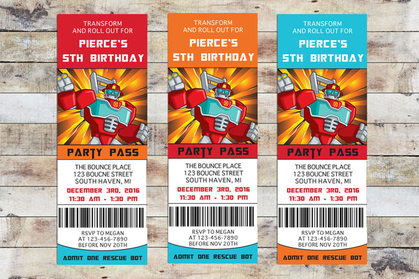 Birthday Invitation - Transformers Rescue Bots | Heat Wave Ticket