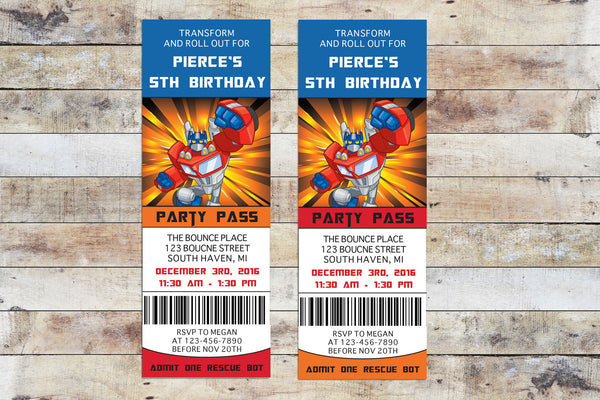 Birthday Invitation - Transformers Rescue Bots | Optimus Prime Ticket