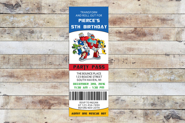 Birthday Invitation - Transformers Rescue Bots | Team Ticket