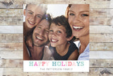 Holiday Card - Happy Holidays Fun Polygonal Colors Polaroid Style Inspired