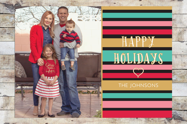 Holiday Card - Happy Holidays Gold & Stripes