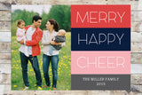 Holiday Card - Merry Happy Cheer (with photo)