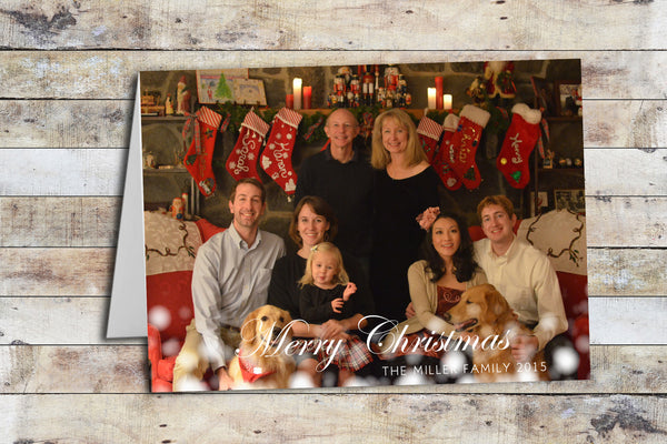 Holiday Card - Peace & Cheer Merry Christmas Snow Flurries