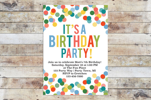 Birthday Invitation - Confetti (Boy)