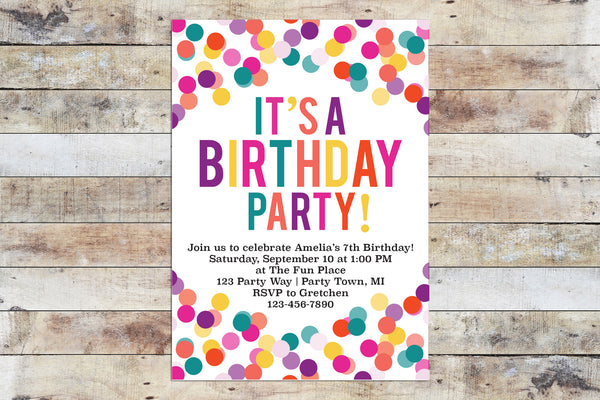 Birthday Invitation - Confetti (Girl)