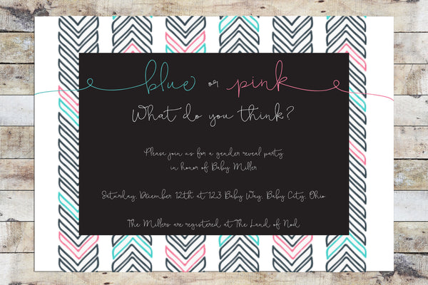 Baby Shower Invitation - Gender Reveal | Arrows
