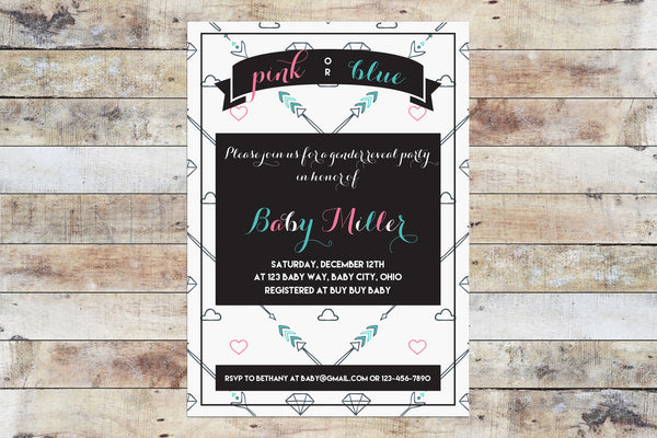 Baby Shower Invitation - Gender Reveal | Arrows & Hearts