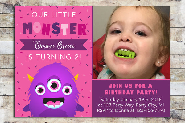 Birthday Invitation - Monster (Girl)