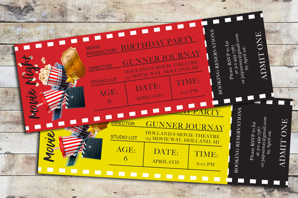 Birthday Invitation - Movie Ticket