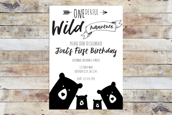 Birthday Invitation - Onederful Wild Adventure (Bear Family)