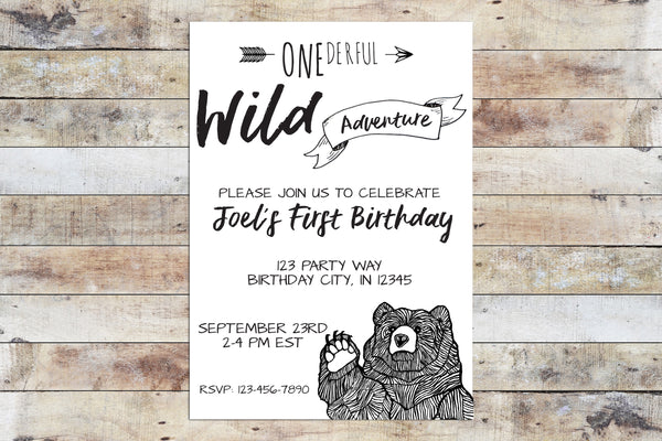 Birthday Invitation - Onederful Wild Adventure (Big Bear)