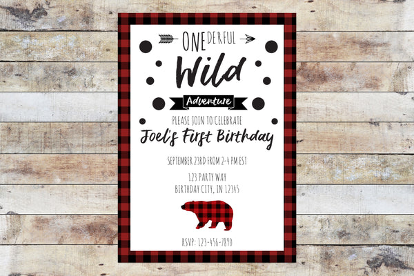 Birthday Invitation - Onederful Wild Adventure (Plaid Bear)