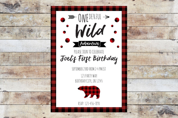 Birthday Invitation - Onederful Wild Adventure (Plaid Polka Dots)