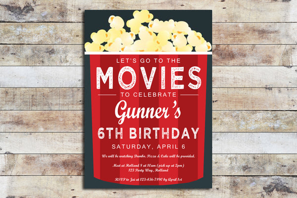Birthday Invitation - Movies & Popcorn