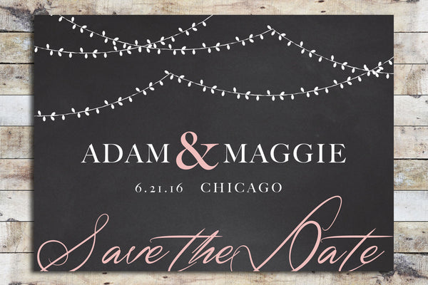 Save the Date - Chalkboard & Lanterns