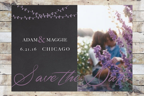 Save the Date - Chalkboard & Lanterns w/ Photo