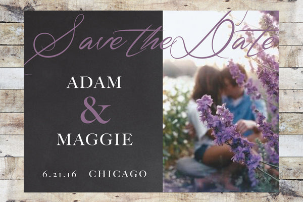 Save the Date - Chalkboard w/ Photo