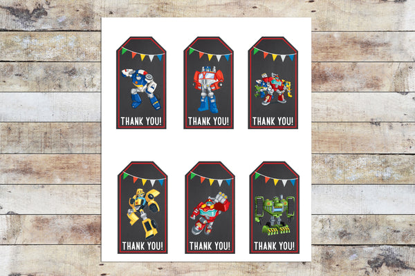 Birthday Invitation - Transformers Rescue Bots | Thank You Tags