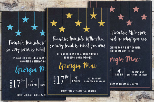 Baby Shower Invitation - Twinkle Twinkle (Chalk Sky & Color Name)